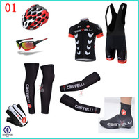 Wholesale 2014 top selling castelli cycling team jersey short sleeve bib sets arms gloves legs helmet Shoes covers cycling sunglasses