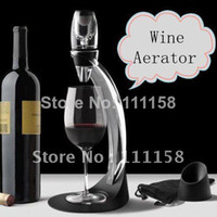ciq glass decanter - 16 Sets Deluxe Wine Aerator Tower Gift Box Set Red Wine Aerating Magic Decanter Bottle Glass Fedex UPS