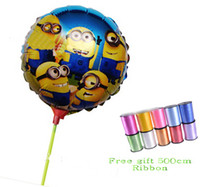 Cartoon aluminium ribbon - 9 off in stock Free gift cm Ribbon cm Despicable ME Movie Minions Towbar aluminum balloons drop shipping hot sale lotGX