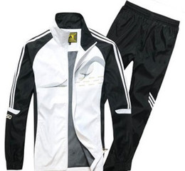 Wholesale 2014 HOT SALE MEN CASUAL FULL SLEEVE SPORTS RUNNING STAND COLLAR STRIPE PATTERN MEN SWEATSHIRTS WITH PANTS