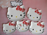 ECO Friendly dinner plate - 7pcs Hello Kitty Ceramic Dinner Set Plate Chopstics Holder Japanese Style Ceramic Tableware Lovely Creative Kitchenware