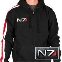 Mass Effect Hoodie, Mass Effect N7 Hoodies, Mass Effect N7 Armour Stripe Hoody Mk-II (Zipper Fleece Cosplay Sweatshirt Coat)+ hoodies & swea