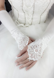 2014 Fall Cheap Fingerless Pearls White Ivory Bridal Gloves Lace Satin Bridal Accessories for Wedding Dresses