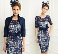Dark Blue lace evening dresses 2014 crew neck half sleeves k...