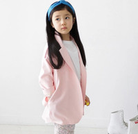 Wholesale High Quality Spring Autumn Children s Clothing Korean Cute Pink Colour Girl Long Trench Coat Big Kids Coat Jacket Child Ouwear GX867