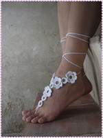 Barefoot Sandals beach wedding sandals bridal - Wedding Barefoot Sandals Bridal White Barefoot sandles Beach Party Nude Shoes Foot jewelry Leg Accessory Foot decoration as858