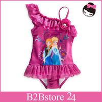 2014 New Frozen Girls Swimsuit Protection Swimwear Children ...