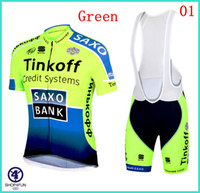 Wholesale Best selling Tinkoff SAXO BANK Outdoor bike clothing newest short sleeves bib cycling jersey good price men s fashion cycling clothes