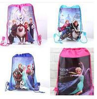 Wholesale 100pc New Baby Frozen Bags Anna Elsa Drawstring Backpack School Bags kids frozen shopping bags Z104