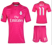 Wholesale 2014 Reals Madrid BALE Pink Away Soccer Sets for Men Spain LA Liga New Football Shirts Soccer Shorts AAA Thai Quality Soccer Kit
