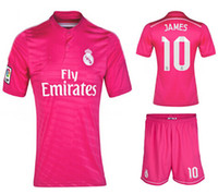 Wholesale 2014 Reals Madrid JAMES Pink Away High Quality Soccer Sets Cheap Soccer Shirts And Shorts Spain LA Liga Football Kit HOT SALE