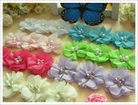 Wholesale Silk Hair Bows For Girls - 50pcs boutique hair head flower bows girls hair accessories kids infant flowers for headwear