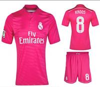 Soccer Short Nylon AAA Thai Quality 2014-15 Reals Madrid #8 KROOS Pink Away Soccer Sets 2014-15 Spain LA Liga Football Club Team New Jersey Full Uniforms Kits