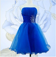 Wholesale 2014 Homecoming dresses party ball gown bridesmaid dresses strapless beading organza short mini dresses blue purple pink