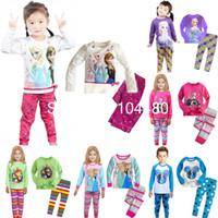 Unisex Spring / Autumn O-Neck new Frozen Princess children's clothing sets,cut cartoon girls pajama sets,toddler baby kids pijama sleepwear suit,retail mix