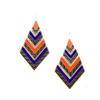 Cheap Whosale Items New 2014 Gold Color Alloy Colorful Enamel Geometry Ethnic Style Dangle Earrings for Women