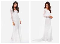 Casual Dresses white maxi dress - Women Maxi Dress Lace Color White Long Sleeve V Neck Elegant Fashion Dress Autumn New