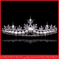 Wholesale In Stock Fashion Bridal Tiaras Wedding Hair Jewelry Pearls Crystals Bridal Accessories