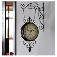 Cheap Fashion Wrought Iron Wall Clock Nostalgic Art Craft Metal Watch Vintage Quartz Mute Antique Double Faced Clocks Home Decor