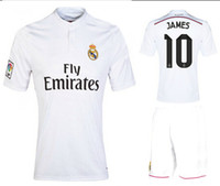 Wholesale 2014 Reals Madrid JAMES White Home Soccer Sets AAA Thai Quality Hot Sale Spain LA Liga Soccer Shirts And Shorts Athletic Uniforms