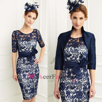 Wholesale Hot Sale Navy Blue Satin Lace Mother of the Bride Dresses with Jacket Half Sleeves Scoop Knee length Sheath Mother Dress Plus Size