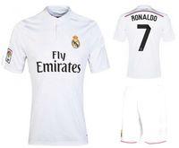 Soccer Men Short High Quality 2014-15 Reals Madrid #7 Ronaldo Soccer Sets New Spain LA Liga Soccer Shirts And Shorts Cheap Jerseys Athletic Full Uniforms