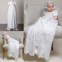 Wholesale 2015 Custom Made Lovely Princess Hot Sale Taffeta and Appliques Baptism Gown Short sleeve Christening Dresses for Baby Girls and Boys