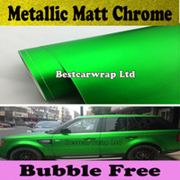 Wholesale Cars Green Matte - Green Matte chrome vinyl car wrap Car Sticker Sheet Film With Air Bubble Free Chrome green matt full car wrap 1.52x20m Roll Free Shipping