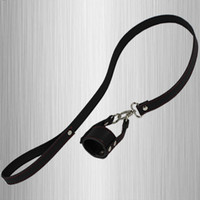 Wholesale Leather Ball Stretcher Cock And Ball Sex Toys With Double O Ring Leash Add Weight Adult Slave Penis Scrotum Penis Bondage For CBT Games