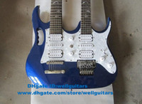 Solid Body 6  12  18 Strings Solid Hardwood Metallic Blue H-S-H 3 Pickups Portable 24 Frets Double Necks Silver Hardware White Shell Fingerboard Inlay Electric Guitar No.0040-115 FS