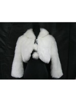 Wholesale New Cheap One Size US8 Long Sleeve White Faux Fur Wrap With Shawl Wedding Bridal for Winter