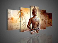 Abstract irregular abstract 5 Panel Wall Art Religion Buddha Brown Oil Painting On Canvas Hand-Painted Colorful Artwork