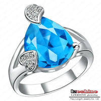 Cluster Rings Fashion Rings Sapphire Ring High Quality Real Platinum Plated AAA Swiss Cubic Zirconia Diamond Simulated Costume Jewelry Rings WX-RI0070