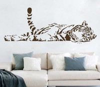 PVC animals decor - Animal wall stickers decoration cute tiger sofa glass cabnet stickers home decal decor a0208 cm