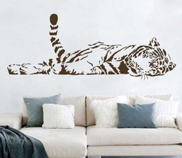 Wholesale Animal wall stickers decoration cute tiger sofa glass cabnet stickers home decal decor a0208 cm