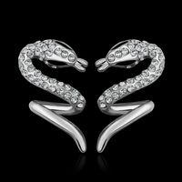 Wholesale Promotion Price Unique K White Gold Plated Swarovski Crystal Cobra Women Men Stick Earrings E866 Price Jewelry
