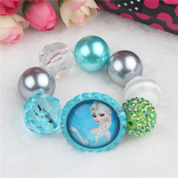 Wholesale Frozen Bracelet DIY Chunky Beads Elsa Bracelt Flatback Bottle Cap Dome Cartoon Pendant Kids Girls Bracelt fit Frozen Necklace Jewelry Decor
