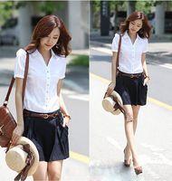 V-Neck Short Sleeve Regular 2014 New Summer Korean Style Women Blouses And Brand Shirt Ladies White Shirt Slim Shirt Female Short Sleeved Shirts XXL