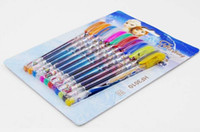Wholesale 2015 Frozen Anna and Elsa Multi Color Ballpoint Pens Elsa Stationery Set Toys Po doll snow Best quality