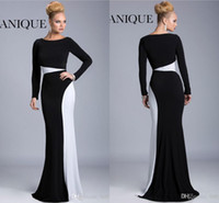 Reference Images black and white evening dresses - 2015 Modern white and black sheath formal evening prom dresses custom made long sleeves floor length women party gowns mother dresses K6426