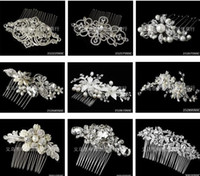 Wholesale 9 Styles Newest Cheap Vintage Bridal Pearl Wedding Hair Comb Styles Crystal Bling Flower Formal Stones Bride Hair comb With Rhinestones
