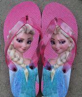 Wholesale Hot Sale Frozen children slipper kids girl Elsa cartoon summer beach sandals flip flop shoes Household shoes size gift