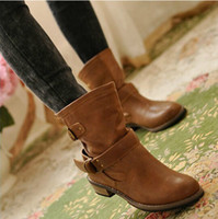 Ankle Boots artificial toes - women Boots female spring and autumn fashion artificial martin boots flat vintage buckle motorcycle boots XWX218