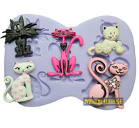 CE / EU baby shower fondant - Pretty Cartoon Cats Silicone Fondant Cake Molds Soap Chocolate Mould For Baby Shower and Birthday Party