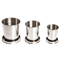 Wholesale 10pcs Stainless Steel Travel Folding Collapsible Cup New Telescopic cup Folding cup