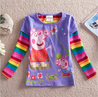 Wholesale Nova kids clothing factory embroidery peppa pig t shirt baby long sleeve Cotton girl dresses for autumn winter