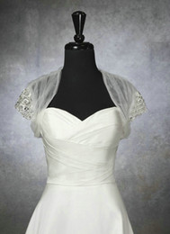 Wholesale 2014 New Hot Sales White Ivory Wedding Jacket Short Sleeve Tulle Beaded Crystal Sequined