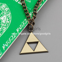 Wholesale 10pcs Anime The Legend of Zelda the Triforce Zelda Triforce Necklace Metal Figure Pendant Necklace ANPD1036