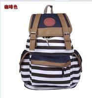 Wholesale Fashion Women Unisex Backpack Canvas Stripe Leisure Bags School Bag Bookbag