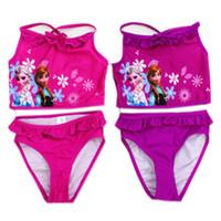 baby swimwear - Frozen piece Swimsuit Baby Girls Kids Swim Vest Swim Briefs Kids Swimwear Child Sets Beachwear Baby elsa anna Swimwear Bathing Suits CY160